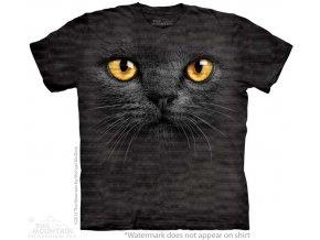 Tričko, černá kočka, 3d, potisk, batikované, mountain