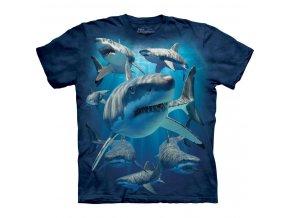 tričko, žralok, mořský dravec, batikované, potisk, mountain
