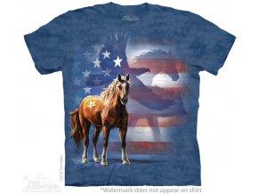 Tričko, kůň, usa vlajka, batikované, mountain, orel a vlk