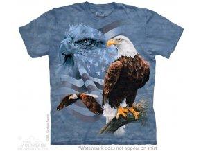 tričko, orel, usa vlajka, batikované,  potisk, amerika