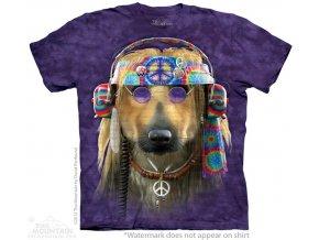 tričko, pes, hipie, rockové, potisk, batikované