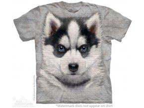 tričko-pes-štěně husky-batikované-potisk-mountain