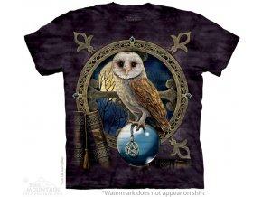tričko, sova, knihy, batikované, potisk, magie
