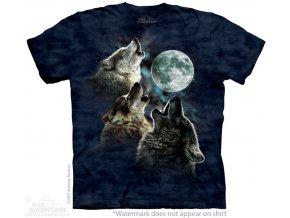 tričko-tři vlci-modré-batikované-potisk-měsíc