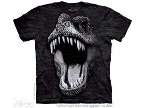 tričko, dinosaurus, svítící, batikované, potisk, fluorescenční