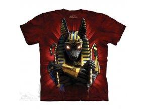 tričko, voják, egypt, batikované, potisk, anubis