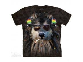 tričko, rasta, kouřící vlk, joint, batikované, mountain