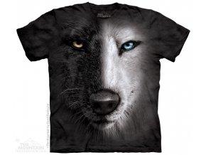 tričko, vlk, černobílý, batikované, potisk, mountain