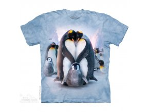 tričko, tučňák, srdce, batikované, potisk, mountain