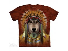 Tričko, indiánské, náčelník, potisk, batikované, vlk