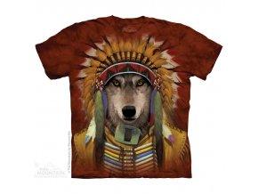 tričko-indiánské-náčelník-potisk-batikované-vlk