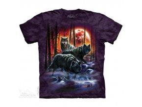 tričko, vlci, oheň a led, batikované,  potisk, mountain