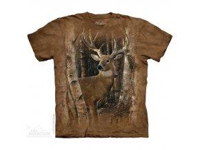 tričko, jelen, myslivecké, potisk, batikované, břízy