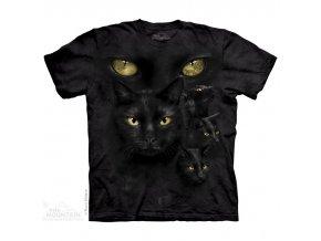 tričko, černá kočka, oči, batikované, potisk, mountain