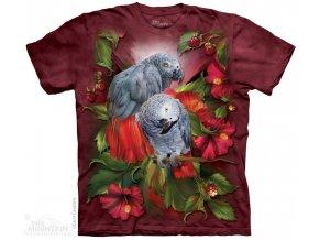 tričko, papoušek, žako, batikované, potisk, mountain