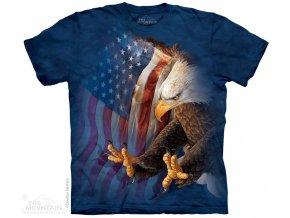 tričko, spáry, orel, batikované, potisk, usa vlajka