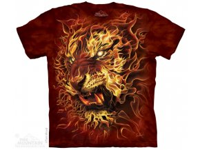 batikovane tricko potisk ohen tygr