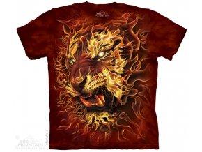 tričko, tygr, oheň, batikované,  potisk, mountain