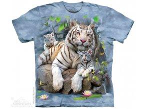 tričko bílý tygr potisk batikované