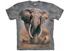 tričko, slon, afrika, batikované, potisk, mountain