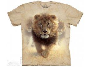 tričko, lev, batikované,  potisk, mountain, béžové