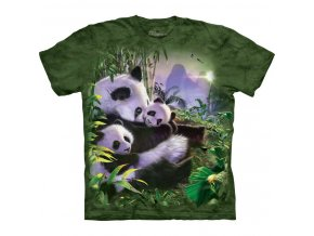 Tričko, panda, zelené, potisk, batikované, mountain