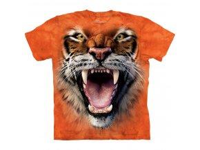 tričko, řvoucí tygr, 3d, batikované, potisk, mountain