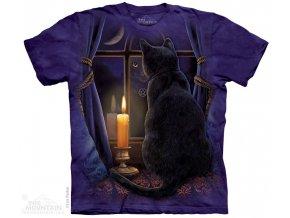 tričko-černá kočka-okno-batikované-potisk-magie