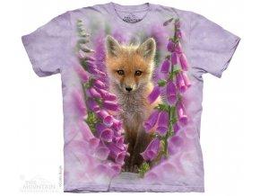 tričko, liška, lištička, potisk, batikované, mountain