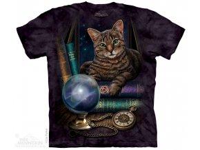 tričko-věštecká koule-hodiny-batikované-potisk-kočka