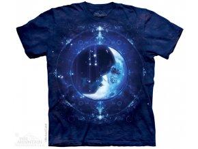 Tričko, měsíc, zodiac, potisk, batikované, magie