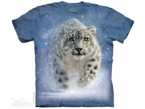 tričko, gepard, sníh, batikované, potisk, mountain