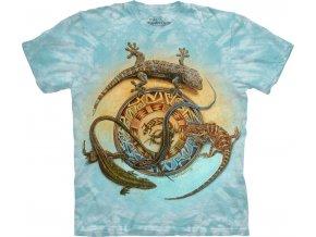 Tričko, ještěrky, dekorativní, potisk, batikované, mountain
