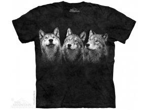 tričko, triáda, tři vlci, batikované, potisk, černé