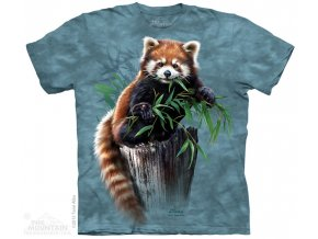Tričko, červená panda, potisk, batikované, mountain