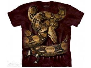 tričko, had, hroznýš, potisk, batikované, mountain