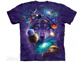 tričko, vlk, zodiac, galaxie, batikované,  potisk