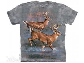 tričko, jelen, srnka, batikované, potisk, mountain