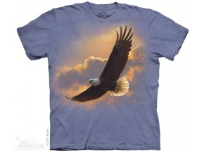 tričko-let orla-obloha-potisk-batikované-mountain