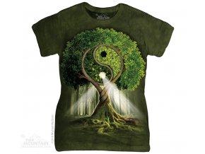 dámské tričko-bavlněné-batikované-potisk-jin jang