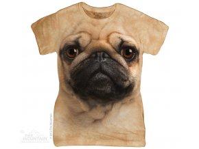 Dámské bavlněné tričko s batikovaným 3D potiskem psa mopse