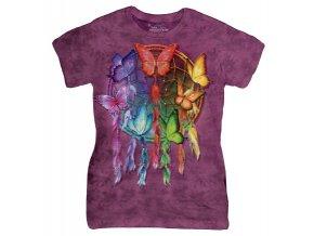 Dámské bavlněné tričko s batikovaným indiánským potiskem duhových motýlů