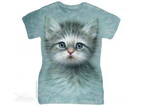 Dámské bavlněné tričko s batikovaným potiskem modré kočky