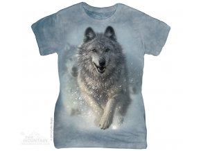 Dámské bavlněné tričko s batikovaným potiskem sněžného vlka