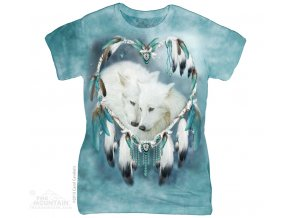 Dámské bavlněné tričko s batikovaným indiánským potiskem vlků a lapačem snů