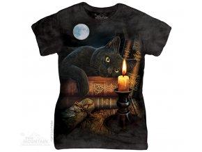 Dámské bavlněné tričko s batikovaným potiskem magické kočky
