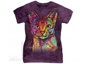 Dámské bavlněné tričko s batikovaným potiskem habešské kočky