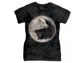 Dámské bavlněné tričko s batikovaným potiskem vlci jin jang