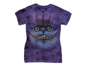 Dámské bavlněné tričko s batikovaným potiskem pohádkové kočky Šklíby