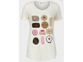 dámské, tričko, potisk, krémové, levné